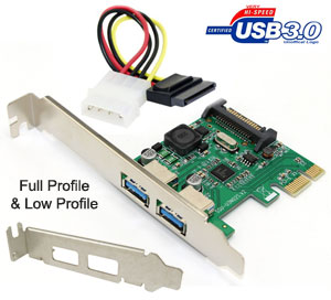 SSU USB 3.0 2-Port PCI-e Card, [SU-U3N02S],  Full ...