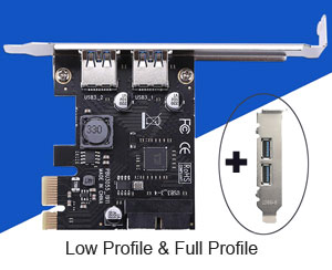 USB 3.0 2 Ports Back + 2 Ports Internal PCI-e Card, Low & Full Profile
