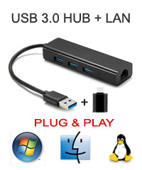 USB 3.0 3-Port HUB + Gigabit LAN Combine, [S9-8153+5411-A], Plug & Play for Win / Mac / Linux, Type A and C