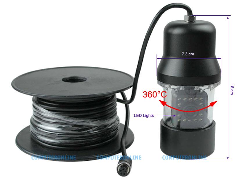 Digital cameras underwater 700 line remote rotating video for Fishing line camera